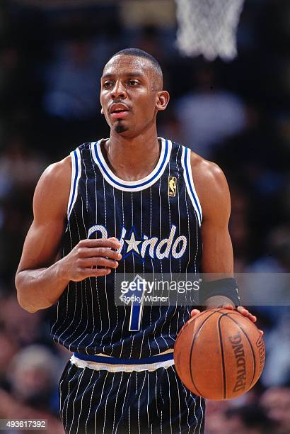 Penny Hardaway of the Orlando Magic dribbles against the Golden State Warriors on March 7 1997 at the Arena in Oakland in Oakland California NOTE TO...