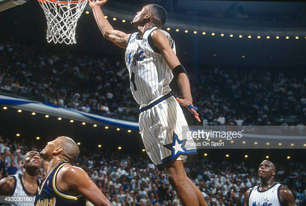 Penny Hardaway of the Orlando Magic goes up for a layup against the Indiana Pacers during an NBA basketball game circa 1995 at the Orlando Arena in...