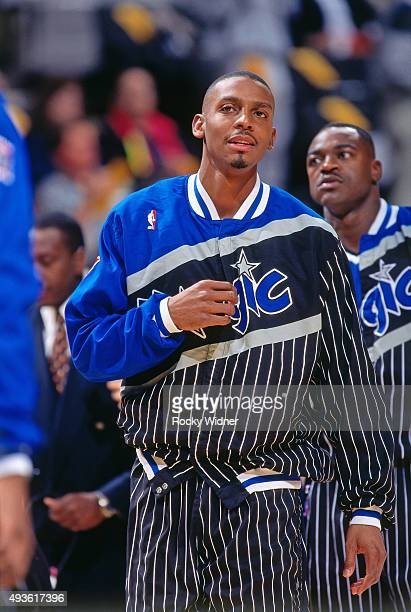 Penny Hardaway of the Orlando Magic looks on against the Golden State Warriors on March 7 1997 at the Arena in Oakland in Oakland California NOTE TO...
