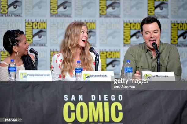 """Penny Johnson Jerald, Adrianne Palicki and Seth MacFarlane speak at """"The Orville"""" Panel during 2019 Comic-Con International at San Diego Convention..."""