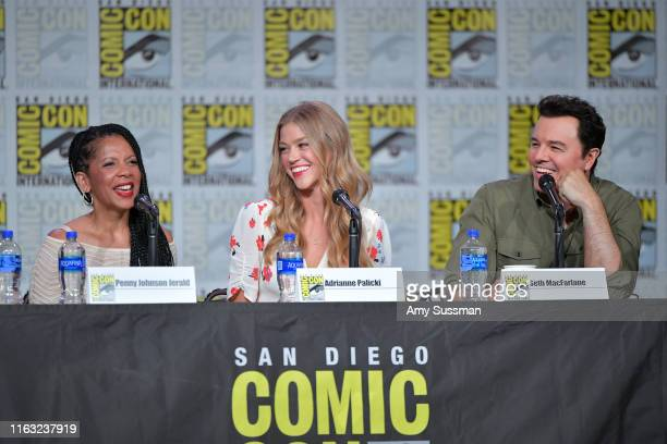 Penny Johnson Jerald Adrianne Palicki and Seth MacFarlane speak at The Orville Panel during 2019 ComicCon International at San Diego Convention...