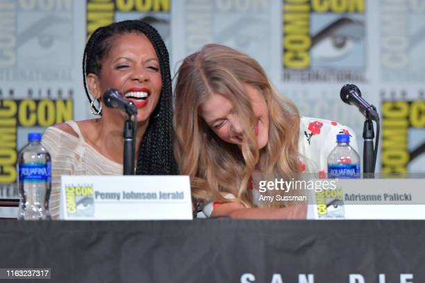 Penny Johnson Jerald and Adrianne Palicki speak at The Orville Panel during 2019 ComicCon International at San Diego Convention Center on July 20...