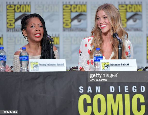 Penny Johnson Jerald and Adrianne Palicki speaks at The Orville Panel during 2019 ComicCon International at San Diego Convention Center on July 20...