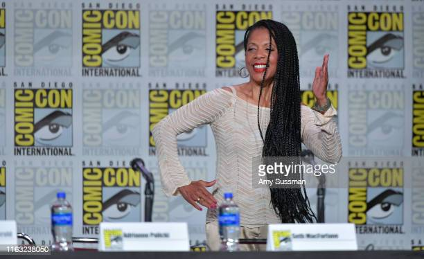 Penny Johnson Jerald speaks at The Orville Panel during 2019 ComicCon International at San Diego Convention Center on July 20 2019 in San Diego...