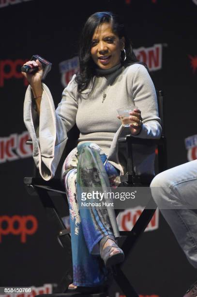 Penny Johnson Jerald speaks during The Orville panel during 2017 New York Comic Con on October 6, 2017 in New York City.