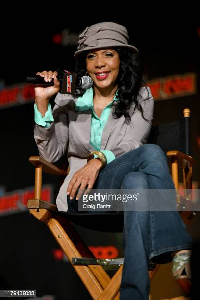 Penny Johnson Jerald speaks on stage during Hulu's The Orville at New York Comic Con 2019 Day 4 at Jacob K Javits Convention Center on October 06...