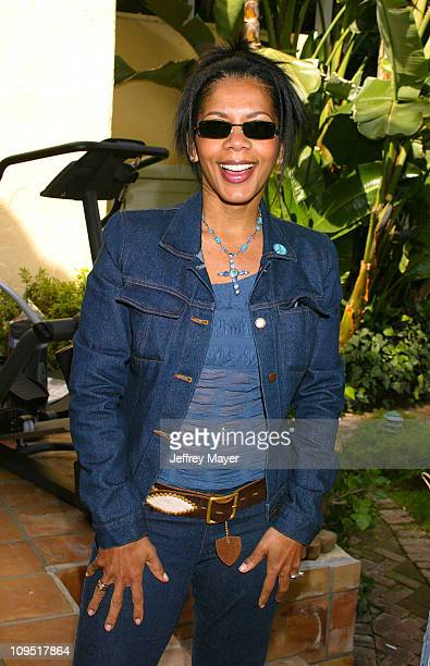 Penny Johnson Jerald trying on Persol Sunglasses during Sunset Marquis Oasis Hosted by Peoples Revolution - Day One at Sunset Marquis Hotel and...
