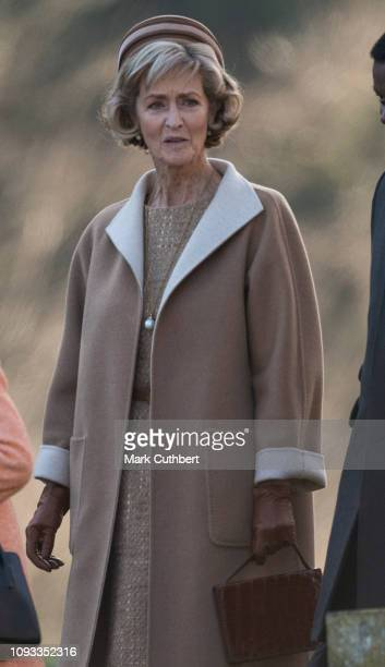 Penny Knatchbull Countess Mountbatten of Burma attends Sunday Service at St Peter and St Paul Church in West Newton on February 3 2019 in King's Lynn...