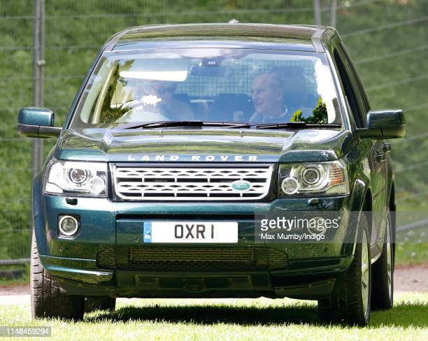 Penny Knatchbull Countess Mountbatten of Burma seen driving Prince Philip Duke of Edinburgh around in his Land Rover Freelander car on day 4 of the...