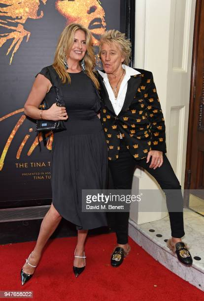 Penny Lancaster and Rod Stewart arrive at the press night performance of 'Tina The Tina Turner Musical' at the Aldwych Theatre on April 17 2018 in...