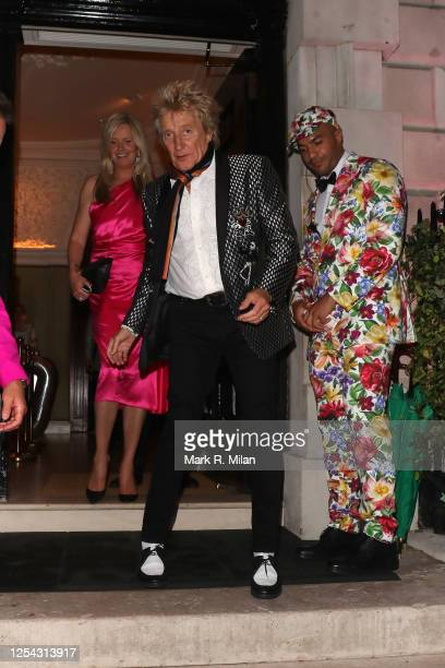 Penny Lancaster and Rod Stewart at Annabel's club on July 04, 2020 in London, England.
