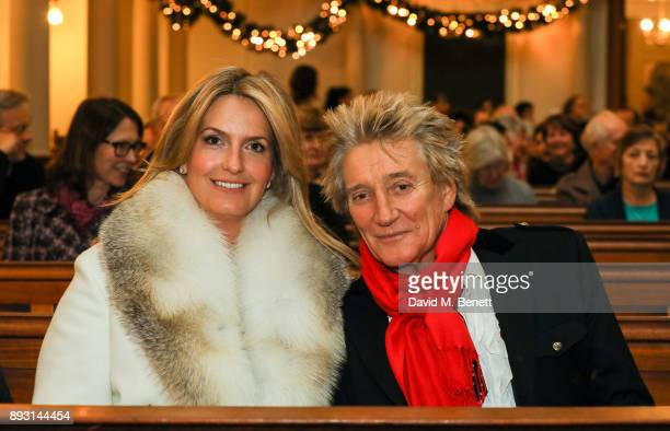 Penny Lancaster and Rod Stewart attend the Chain of Hope Carol at St Marylebone Parish Church on December 14 2017 in London England