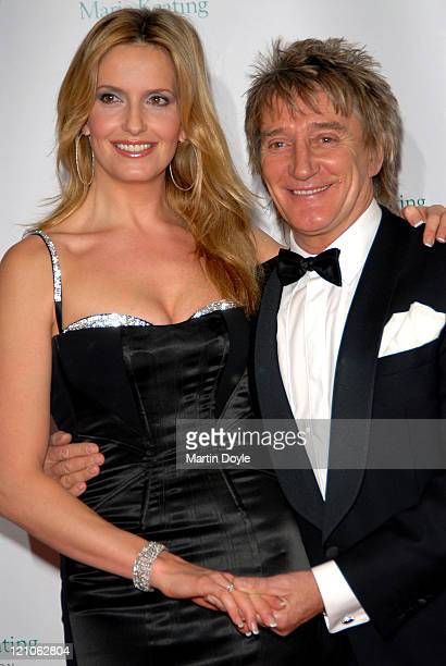 Penny Lancaster and Rod Stewart attend The Emeralds Ivy Ball hosted by Ronan Keating for Cancer Research UK sponsored by Anglo Irish Bank at The Old...