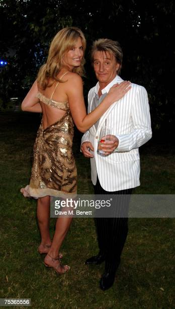 Penny Lancaster and Rod Stewart attend the Serpentine Summer Party at The Serpentine Gallery on July 11 2007 in London England