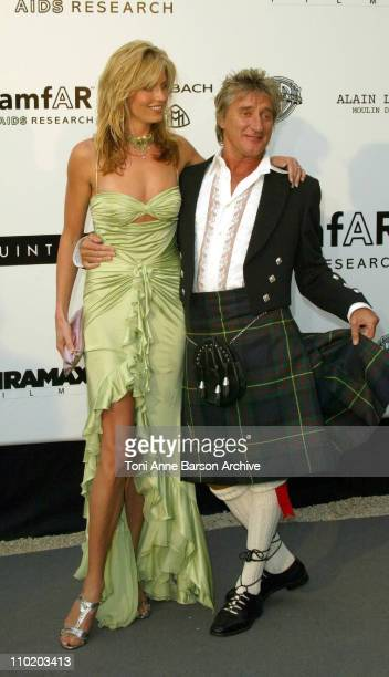 """Penny Lancaster and Rod Stewart during amfAR's """"Cinema Against AIDS Cannes"""" Benefit Sponsored by Miramax and Quintessentially - Arrivals at Moulin De..."""