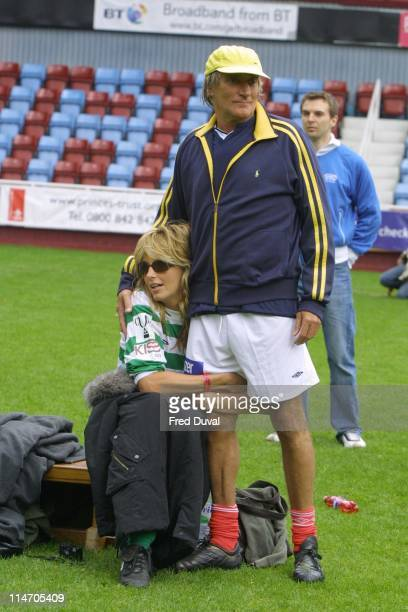Penny Lancaster and Rod Stewart during Music Industry's Soccer Six in Upton Park at Upton Park in London London United Kingdom