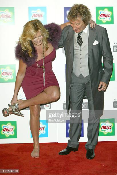 Penny Lancaster and Rod Stewart during Penny Lancaster Ariel VIP Launch Party at Vinyl Factory in London Great Britain