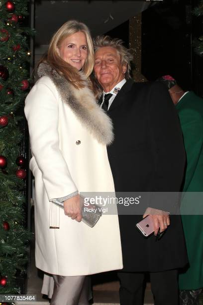 Penny Lancaster and Rod Stewart seen attending a party at Annabel's in Mayfair on December 05 2018 in London England