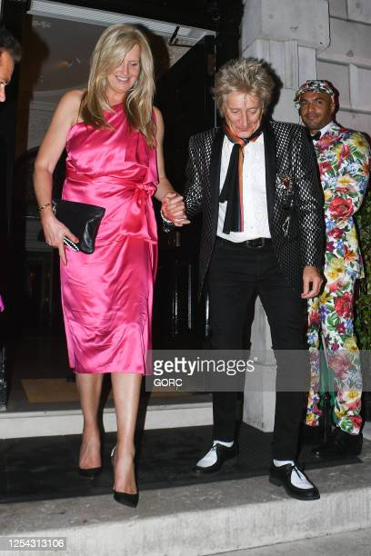 Penny Lancaster and Rod Stewart seen leaving Annabel's club in Mayfair on July 04, 2020 in London, England.