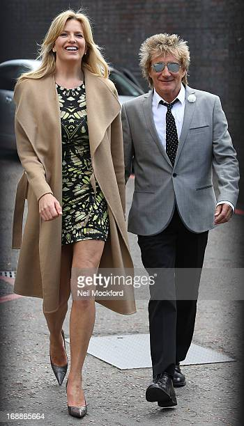 Penny Lancaster and Rod Stewart seen leaving the ITV Studios on May 16 2013 in London England