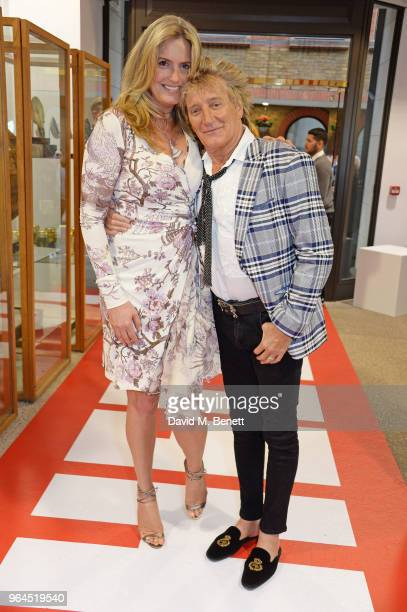 Penny Lancaster and Sir Rod Stewart attend Hello Magazine's 30th anniversary party at Dover Street Market on May 9 2018 in London England