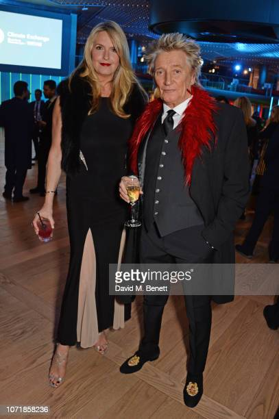 Penny Lancaster and Sir Rod Stewart attend the Bloomberg x Vanity Fair Climate Exchange gala dinner 2018 at Bloomberg London on December 11 2018 in...