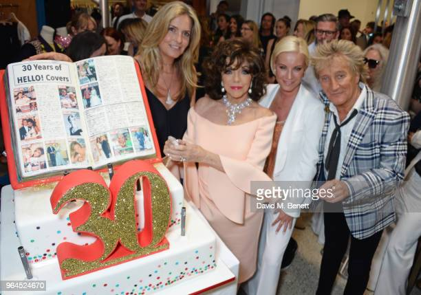 Penny Lancaster, Dame Joan Collins, Tamzin Outhwaite and Sir Rod Stewart attend Hello Magazine's 30th anniversary party at Dover Street Market on May...