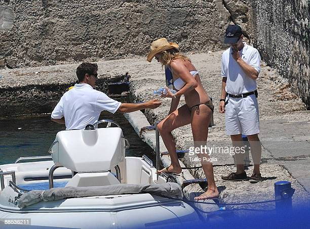 Penny Lancaster depart the beach of Mondello on June 17 2009 in Palermo Italy