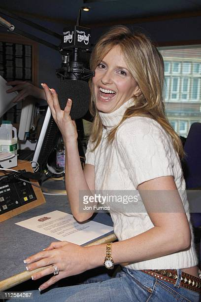 Penny Lancaster poses as she visits Johnny Vaughan's Capital Radio Breakfast Show on November 29, 2007 in London, England.