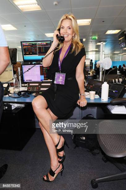 Penny Lancaster representing CaudwellÊmakes a trade at GFI Charity Day 2017 on September 11 2017 in London England