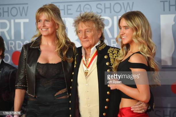 Penny Lancaster, Rod Stewart and Ruby Stewart attends The BRIT Awards 2020 at The O2 Arena on February 18, 2020 in London, England.