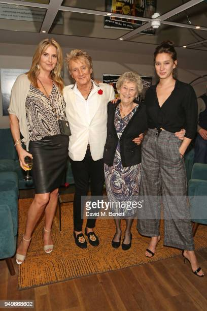 Penny Lancaster Sir Rod Stewart sister Mary Stewart and daughter Renee Stewart attend a screening of Rod The Mod at BFI Southbank on April 21 2018 in...