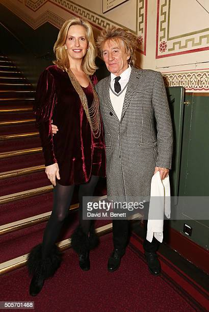 Penny Lancaster Stewart and Rod Stewart arrive at a VIP performance of 'Cirque Du Soleil Amaluna' at Royal Albert Hall on January 19 2016 in London...
