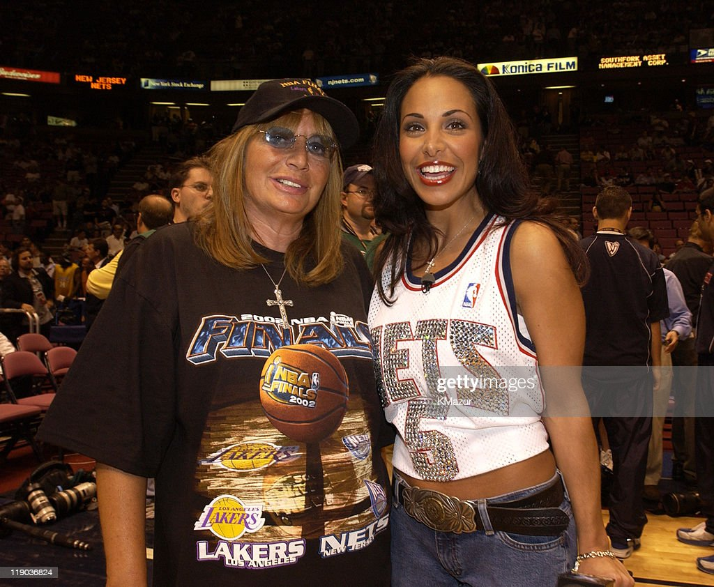 Penny Marshall and Joumana Kidd during Celebrities at Game 4 of the NBA Finals with the Los Angeles Lakers and the New Jersey Nets at Continental Arena in East Rutherford, New Jersey, United States.