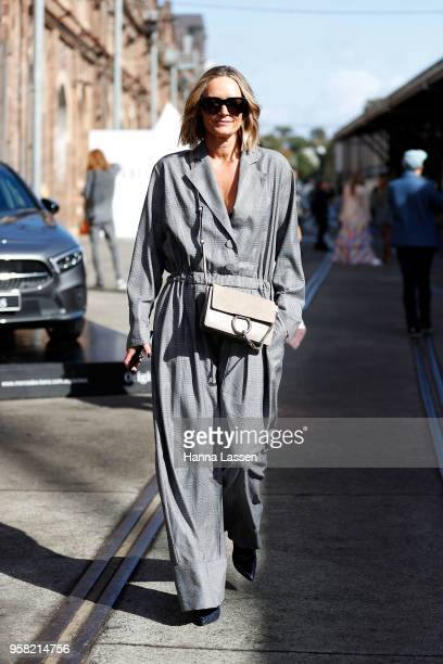 Penny McCarthy wearing Michael Lo Sordo jumpsuit and Chloe clutch during MercedesBenz Fashion Week Resort 19 Collections at Carriageworks on May 14...