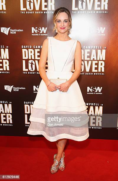 Penny McNamee arrives ahead of the premiere of Dream Lover The Bobby Darin Musical at Lyric Theatre Star City on October 6 2016 in Sydney Australia