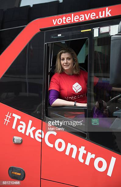 Penny Mordaunt Minister of State for the Armed Forces and Conservative MP for Portsmouth North sits behind the wheel of the Vote Leave battle bus as...