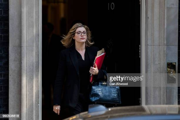 Penny Mordaunt Secretary of State for International Development leaves Downing Street after the weekly cabinet meeting on July 3 2018 in London...