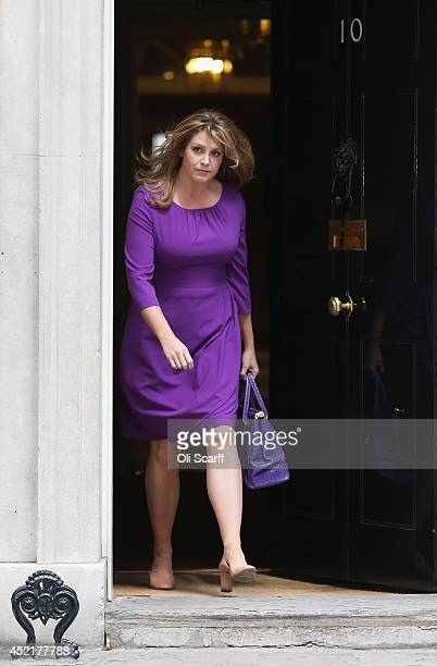 Penny Mordaunt the new Junior Minister at the Department for Communities and Local Government departs Downing Street on July 15 2014 in London...