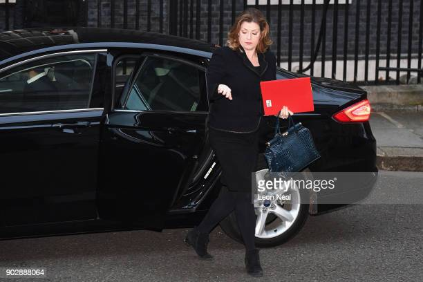 Penny Mordaunt the Secretary of State for International Development arrives as government ministers attend the first Cabinet meeting of the year at...