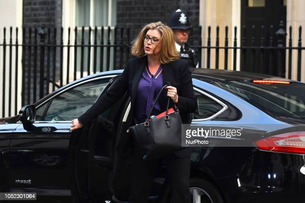 Penny Mordaunt UK international development secretary arrives for a weekly meeting of cabinet ministers at number 10 Downing Street in London on...