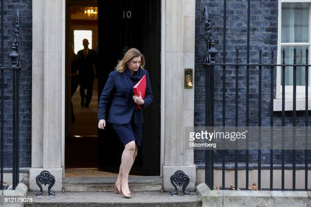 Penny Mordaunt UK international development secretary leaves following a weekly meeting of cabinet ministers at number 10 Downing Street in London UK...