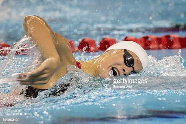 TORONTO ON APRIL 7 Penny Oleksiak churns through the water in the Women 200 Metre Freestyle final at the 2016 Canadian Olympic Para Swimming Trials...