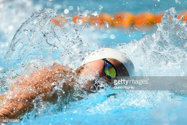 Penny Oleksiak of Canada competes during the Women's 100m Freestyle Heat 3 on day four of the Gold Coast 2018 Commonwealth Games at Optus Aquatic...
