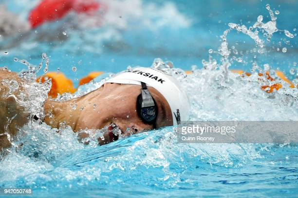 Penny Oleksiak of Canada competes during the Women's 200m Freestyle Heat 1 on day one of the Gold Coast 2018 Commonwealth Games at Optus Aquatic...