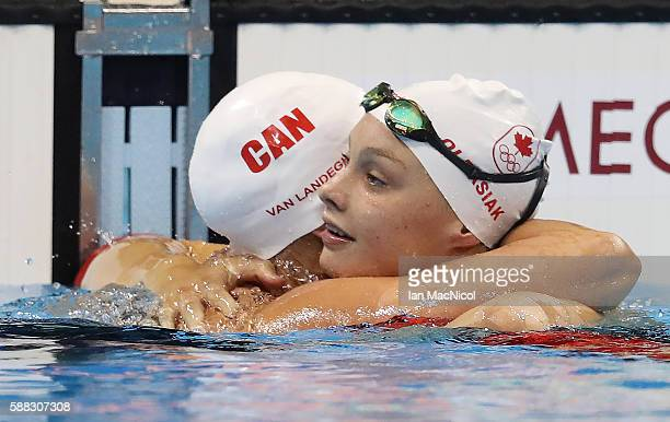Penny Oleksiak of Canada competes in the semi final of the Women's 100m Freestyle on Day 5 of the Rio 2016 Olympic Games at the Olympic Aquatics...