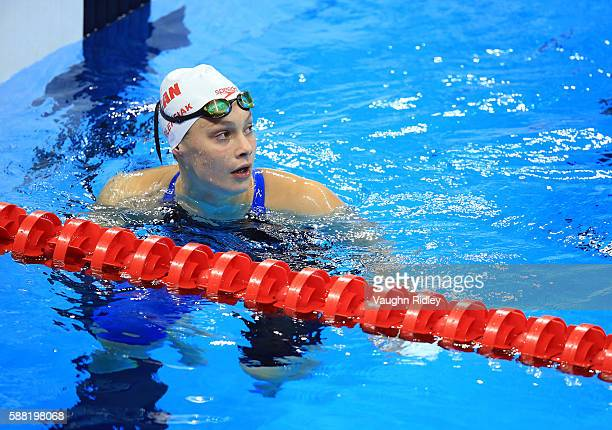 Penny Oleksiak of Canada competes in the Women's 100m Freestyle Heats on Day 5 of the Rio 2016 Olympic Games at the Olympic Aquatics Stadium on...