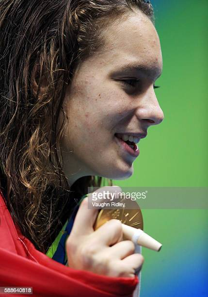 Penny Oleksiak of Canada wins Gold in the Women's 100m Freestyle Final on Day 6 of the Rio 2016 Olympic Games at the Olympic Aquatics Stadium on...