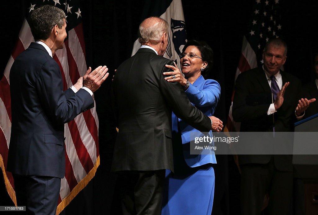 Joe Biden Swears In Penny Pritzker As Commerce Secretary
