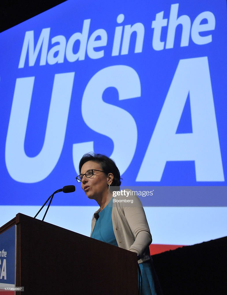 Penny Pritzker, U.S. secretary of commerce, speaks at the Wal-Mart Manufacturing Summit in Orlando, Florida, U.S., on Thursday, Aug. 22, 2013. Wal-Mart Stores Inc.s U.S. chief Bill Simon urged companies to create domestic manufacturing jobs, saying the effort is good for businesses as it cuts costs by having goods produced closer to where they are consumed. Photographer: Jim Stem/Bloomberg via Getty Images